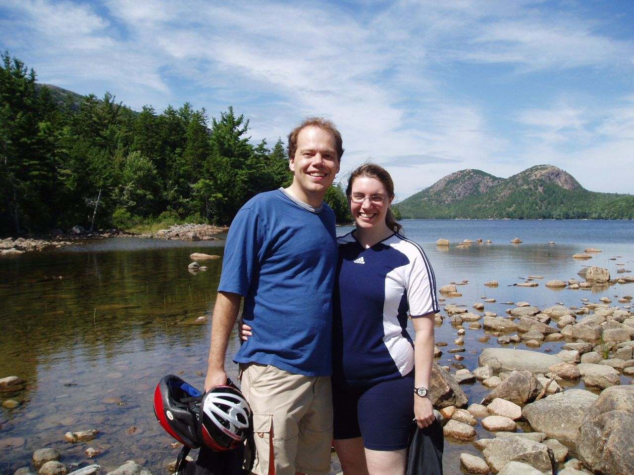 Anne and Bill at Jordan Pond in Acadia National Park, August 2005